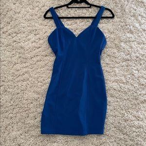 Form fitting blue mini dress